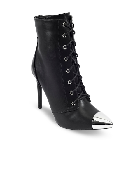Truffle Collection Women Black Pointy-Toed High-Top Heeled Boots