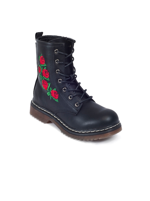 Truffle Collection Women Black Solid Heeled Boots with Embroidered Detail