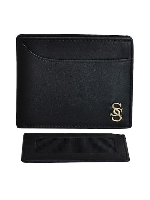 Second SKIN Men Black Genuine Leather Twofold Wallet