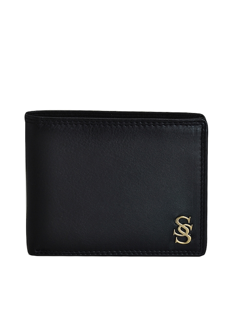 Second SKIN Men Black Genuine Leather Twofold Wallet