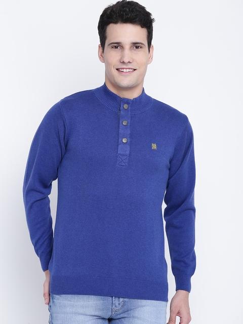 Monte Carlo Men Blue Solid Sweater