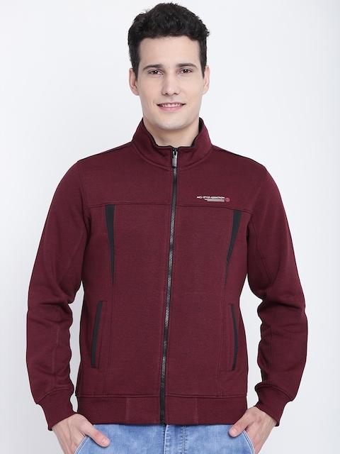 Monte Carlo Men Maroon Solid Sweatshirt