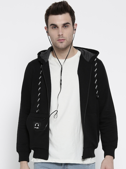 Monte Carlo Men Black Solid Hooded Sweatshirt