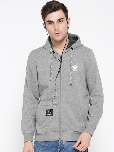 Monte Carlo Men Grey Melange Solid Hooded Sweatshirt