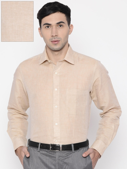 Arrow Men Beige Regular Fit Solid Formal Shirt