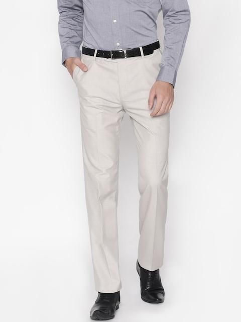 Arrow Men Beige Smart Regular Fit Solid Formal Trousers