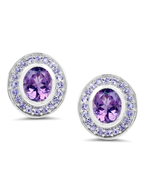 Johareez Silver-Toned & Purple Oval Studs