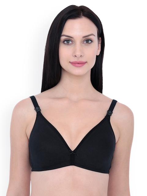 Inner Sense Black Solid Non-Wired Non Padded Maternity Bra IMB006D-38C