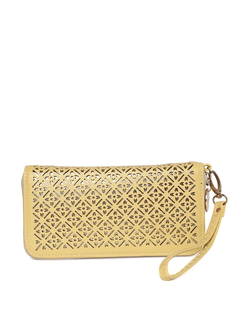 Lisa Haydon for Lino Perros Women Yellow Solid Zip Around Wallet with Wrist Loop