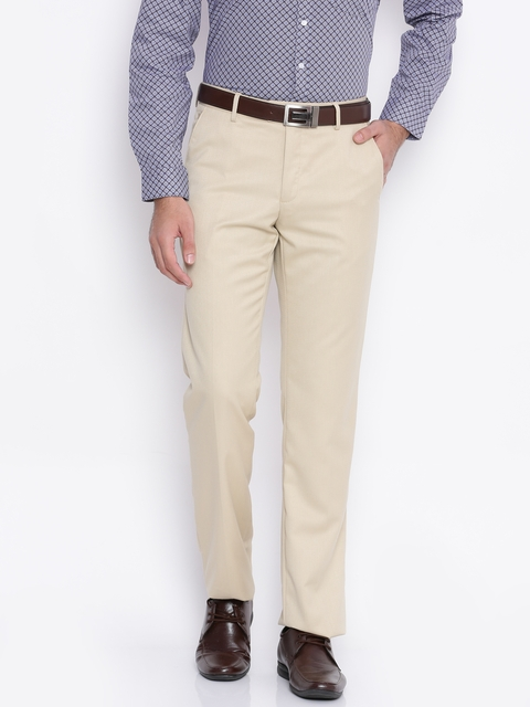 Van Heusen Men Beige Slim Fit Self-Design Formal Trousers