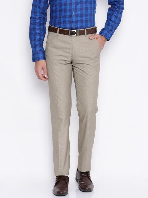 Van Heusen Men Beige Slim Fit Sel-Design Formal Trousers