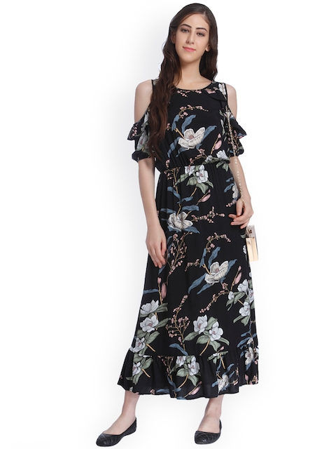 ONLY Women Black Floral Print Maxi Dress