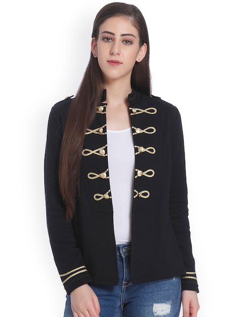 ONLY Women Black Solid Open Front Jacket