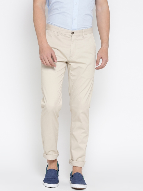 Arrow Sport Men Beige Chrysler Tapered Fit Solid Trousers