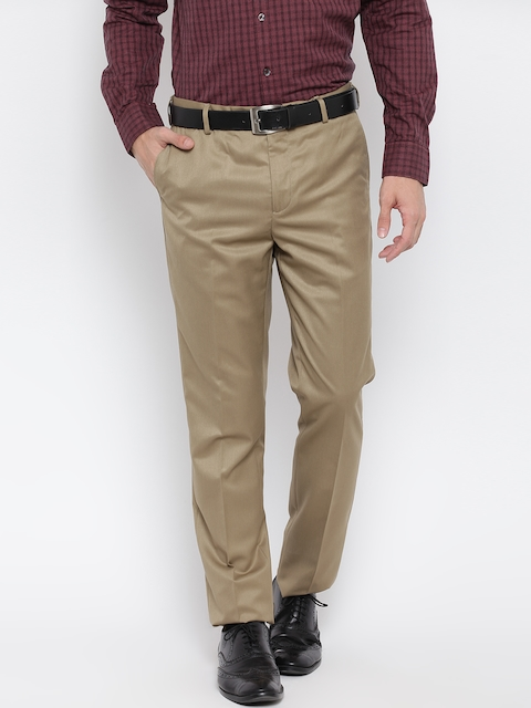 Arrow Men Beige Tapered Fit Solid Formal Trousers