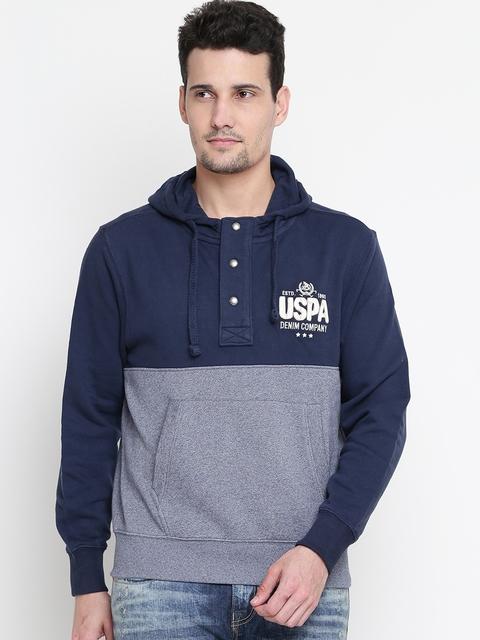 U.S. Polo Assn. Men Navy & Off-White Colourblocked Hooded Sweatshirt
