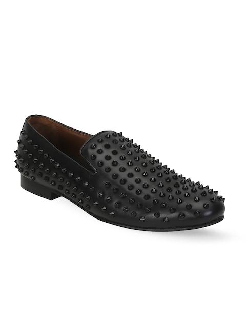 BARESKIN Men Black Studded Leather Loafers