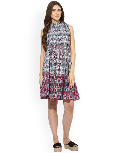 Mine4Nine Women Multicoloured Printed Fit and Flare Dress