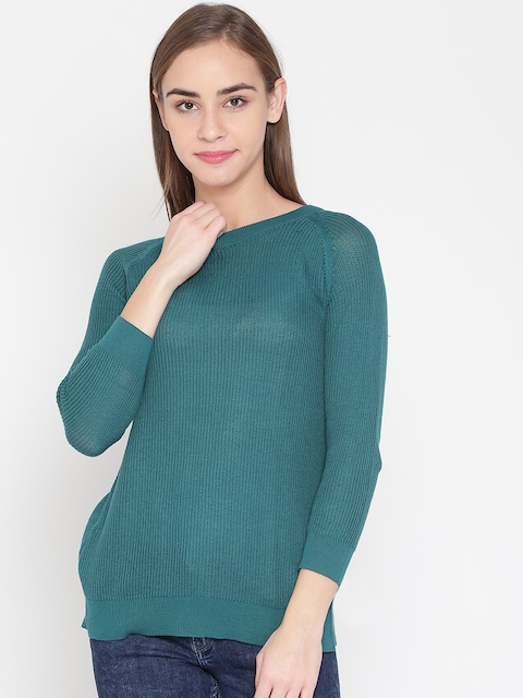 United Colors of Benetton Women Green Solid Sweater