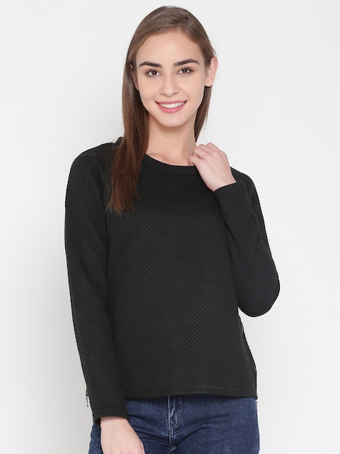 United Colors of Benetton Women Black Self-Design Top