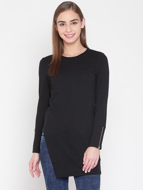 United Colors of Benetton Women Black Solid Sweatshirt