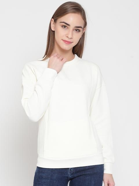 United Colors of Benetton Women Off-White Self-Design Sweatshirt