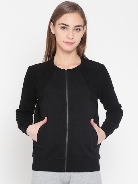 United Colors of Benetton Women Black Solid Bomber Jacket