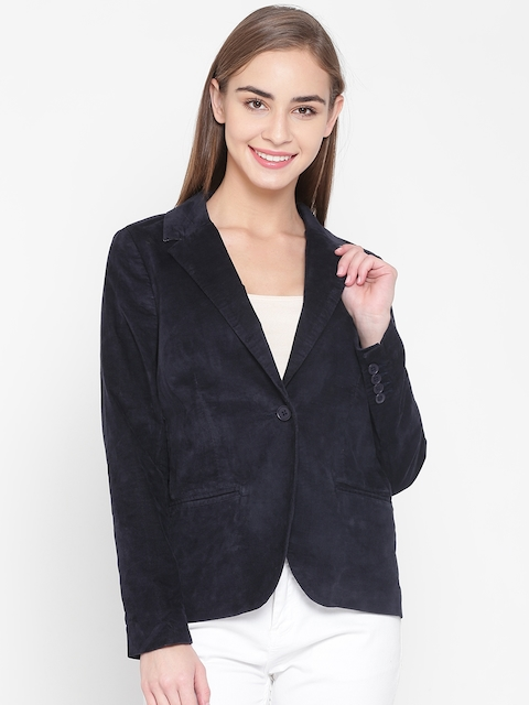 United Colors of Benetton Navy Single-Breasted Casual Blazer