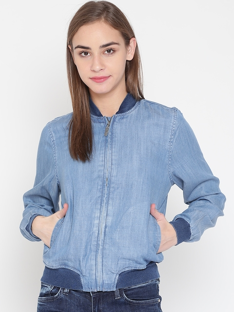 United Colors of Benetton Women Blue Washed Chambray Bomber Jacket