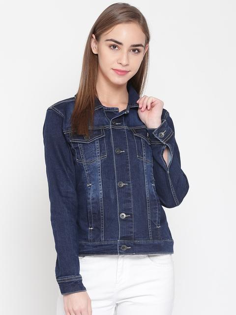 United Colors of Benetton Women Blue Solid Denim Jacket