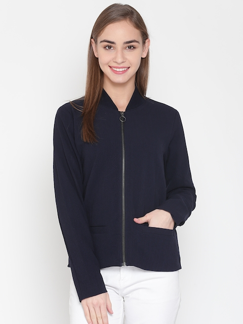 United Colors of Benetton Women Navy Blue Self-Design Tailored Jacket