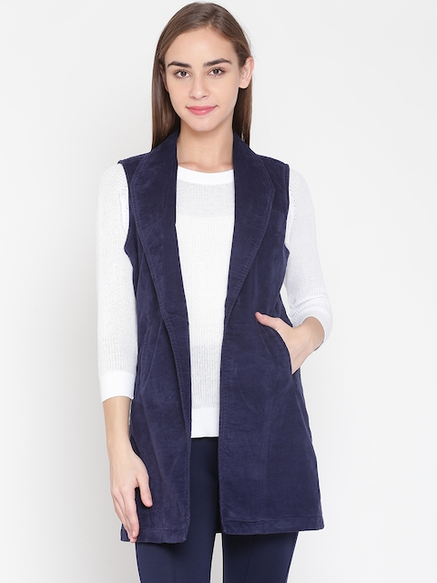 United Colors of Benetton Women Navy Solid Sleeveless Longline Open Front Jacket