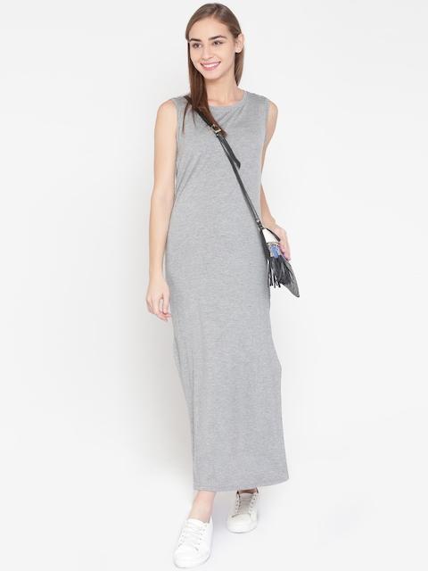 United Colors of Benetton Women Grey Melange Solid Maxi Dress