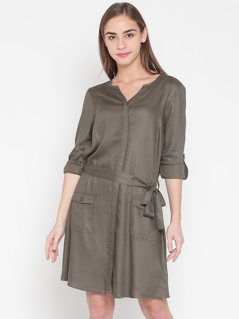 United Colors of Benetton Women Olive Green Solid A-Line Dress