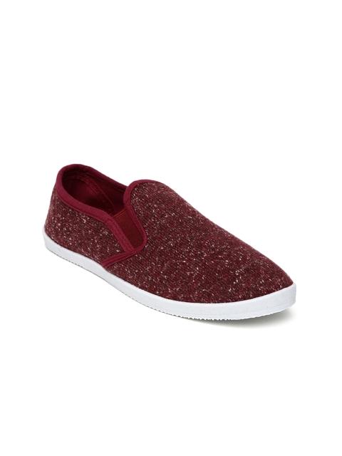 People Women Maroon Slip-On Sneakers