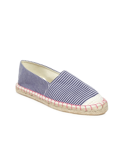 People Women Blue & White Striped Espadrilles