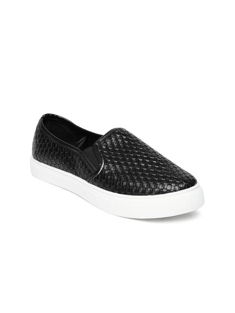 People Women Black Textured Slip-On Sneakers
