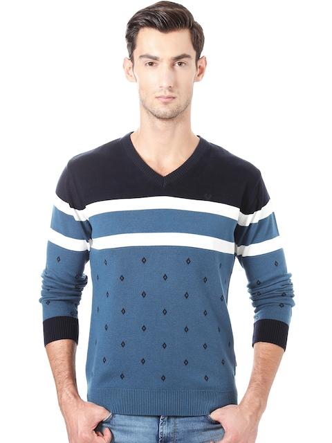 Allen Solly Men Blue & Black Colourblocked Pullover