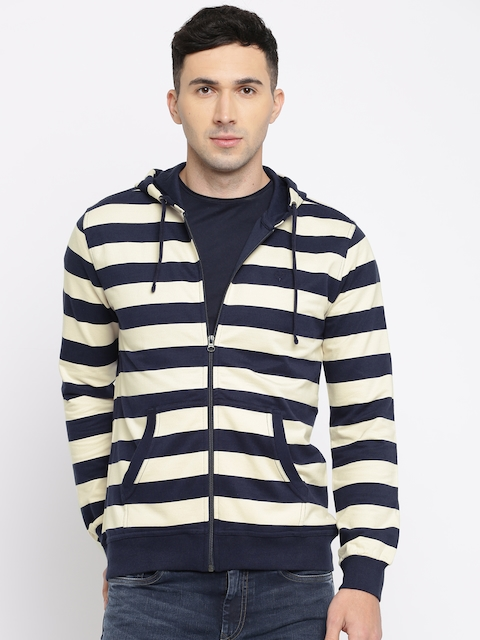 Allen Solly Men Off-White & Navy Blue Striped Hooded Sweatshirt