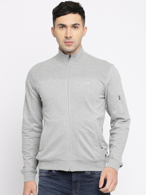 Allen Solly Men Grey Melange Solid Sweatshirt