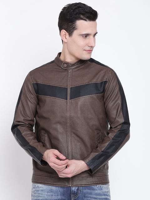 Solly Jeans Co. Men Brown Solid Biker Jacket