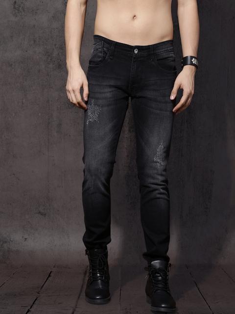 Roadster Men Black Skinny Fit Mid-Rise Mildly Distressed Stretchable Jeans