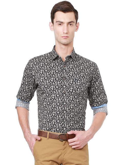 Allen Solly Men Black & Off-White Slim Fit Ethnic Print Casual Shirt