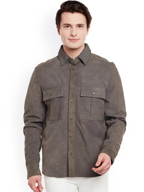 BARESKIN Men Grey Solid Lightweight Leather Jacket