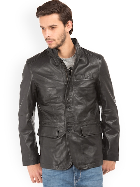 U.S. Polo Assn. Men Black Solid Windcheater Leather Jacket