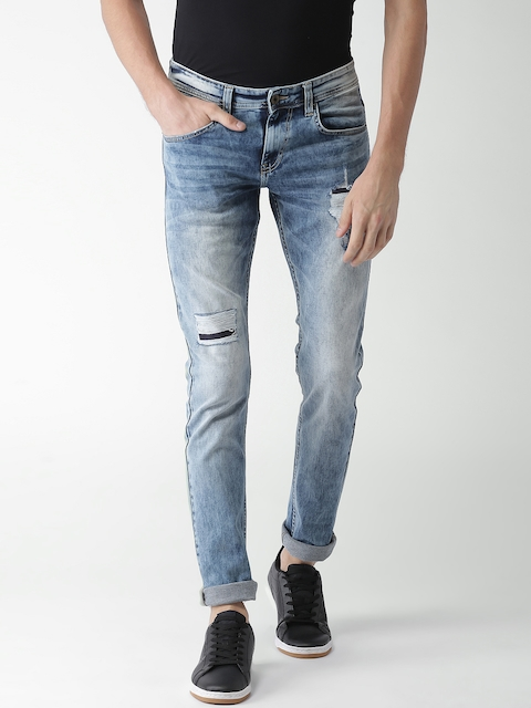 Celio Men Blue Slim Fit Mid-Rise Mildly Distressed Stretchable Jeans  available at myntra for Rs.1499