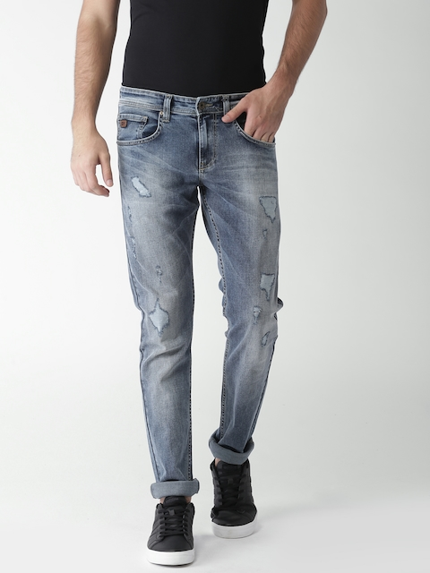 Celio Men Blue Slim Fit Mid-Rise Mildly Distressed Stretchable Jeans  available at myntra for Rs.1799