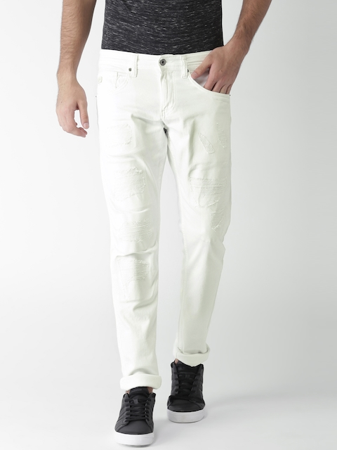 Celio Men White Slim Fit Mid-Rise Mildly Distressed Stretchable Jeans
