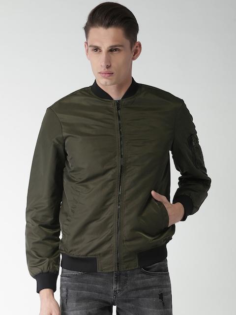Celio Men Olive Green Solid Sporty Jacket
