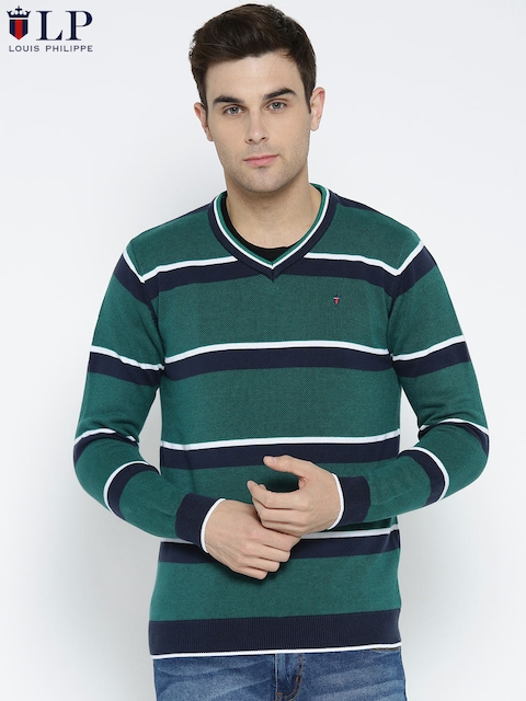 Louis Philippe Sport Men Green & Navy Striped Pullover